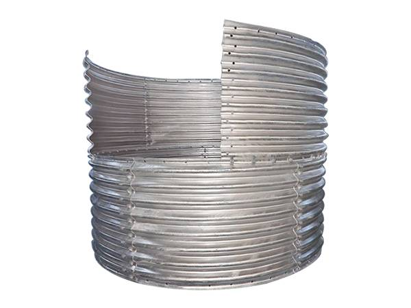 A part of assembled corrugated steel pipe consists of several corrugated plates.